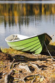 Boat at rough by tree roots shore — Stock Photo