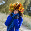 Woman feel cold while walking at park — Stock Photo