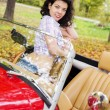 Stock Photo: Womat retro car on passanger seat