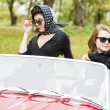 Stock Photo: Women with dark glasses behind car windscreen