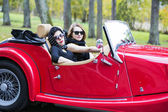 Women with dark glasses on vacation trip — ストック写真