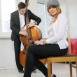 While mplay contrabass woman — Stock Photo #39545325