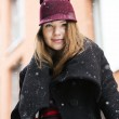 Woman at winter day with funny hat — Stock Photo