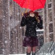 Woman with umbrella enjoy snowfall on street — Stock Photo #40023585