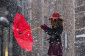 Wind try torn from the hands umbrella — Stockfoto