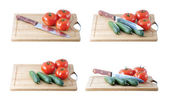The fresh tomatoes and cucumbers — Stock Photo