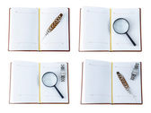 The diaries with a pen, magnifying glass and the clock — Stock Photo