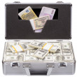 Stock Photo: Metal case with dollars and euros