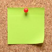 Sticky note on cork board — Stock Photo