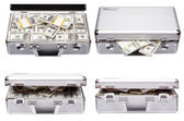 The metal case with dollars and euros — Stock Photo