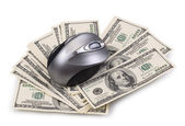 Pack of dollars and computer mouse — Stock Photo