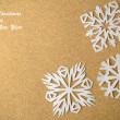 Stock Photo: Christmas postcard with true paper snowflakes