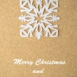 Christmas postcard with true paper snowflake — Stock Photo