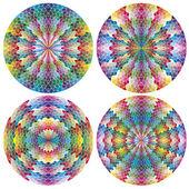Sada mozaiky jako filigránové barevná kolečka — Stock vektor
