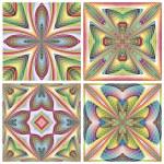 Set of seamless stain glass art deco tiles — Stock Vector