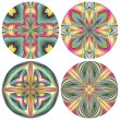 Set of art deco stain glass rosettes — Stock Vector