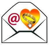 Föreslå äktenskap via e-post — Stockfoto