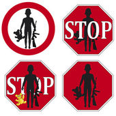 Stop the use of Child Soldier Set — Stock Vector