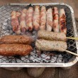 Stock Photo: Bbq barbecue kebab sausage disposable