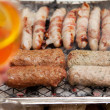 Постер, плакат: Bbq barbecue kebab sausage disposable