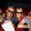 Teenage Family Watching Film In Cinema — Foto de Stock