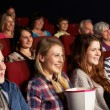Group Of Teenage Friends Watching Film In Cinema — Stock Photo