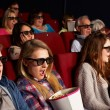Group Of Teenage Friends Watching 3D Film In Cinema — Stock Photo