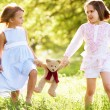 Two Young Girls Walking Through Summer Field Carrying Teddy Bear - Stock Photo