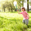 Young Boy In Field With Insect Net — Stock Photo