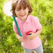 Young Boy In Field With Net And Bug Catcher — Stock Photo