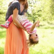 Mother Playing With Young Daughter In Summer Field — Stock Photo