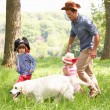 Father Playing Exciting Adventure Game With Children And Dog In  — ストック写真