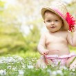 Baby Girl In Summer Dress Sitting In Field Wearing Sunglasses An — Stock Photo #24441143