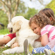 Two Children Petting Family Dog In Summer Field - Stock Photo