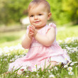 Baby Girl In Summer Dress Sitting In Field — Stock Photo