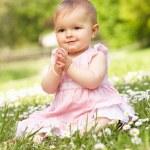 Baby Girl In Summer Dress Sitting In Field — Stock Photo