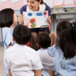 Teacher Showing Painting To Students In Chinese School Classroom — Stock Photo #24441997