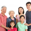 Studio Shot Of Multi-Generation Chinese Family — Foto Stock