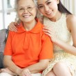 Portrait Of Chinese Mother With Adult Daughter Relaxing At Home — Stock Photo