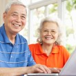 Senior Chinese Couple Sitting At Desk Using Laptop At Home — Stock Photo