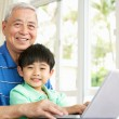 Chinese Grandfather And Grandson Sitting At Desk Using Laptop At — Stock Photo #24444027