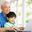 Chinese Grandfather And Grandson Sitting At Desk Using Laptop At — Stock Photo