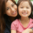 Chinese Mother And Daughter Sitting On Sofa At Home Together — Stock Photo