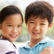 Head And Shoulders Portrait Of Chinese Boy And Girl - Stock Photo