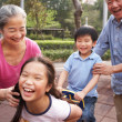 Chinese Grandparents Playing With Grandchildren In Playground - Stock Photo