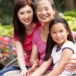 Female Multi Genenration Chinese Family Group Sitting On Bench I — Stock Photo
