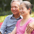 Senior Chinese Couple Relaxing On Park Bench Together — Stock fotografie