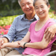 Senior Chinese Couple Relaxing On Park Bench Together — Stock Photo