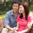 Young Chinese Couple Relaxing On Park Bench Together — Stock fotografie