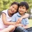 Portrait Of Chinese Boy And Girl Sitting In Park Together — Stock Photo #24446035